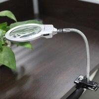 2.5X107 MM 5X24 MM LED Illuminante Magnifier Tubo di Metallo microscopio Lente di Ingrandimento con luce Desk Reading lampada con Morsetto