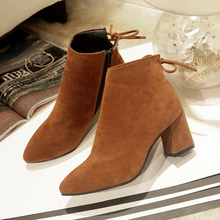 2019 new arrived autumn winter short boots fashion sharp pointed high heels womens pumps Martin girl shoes color black red