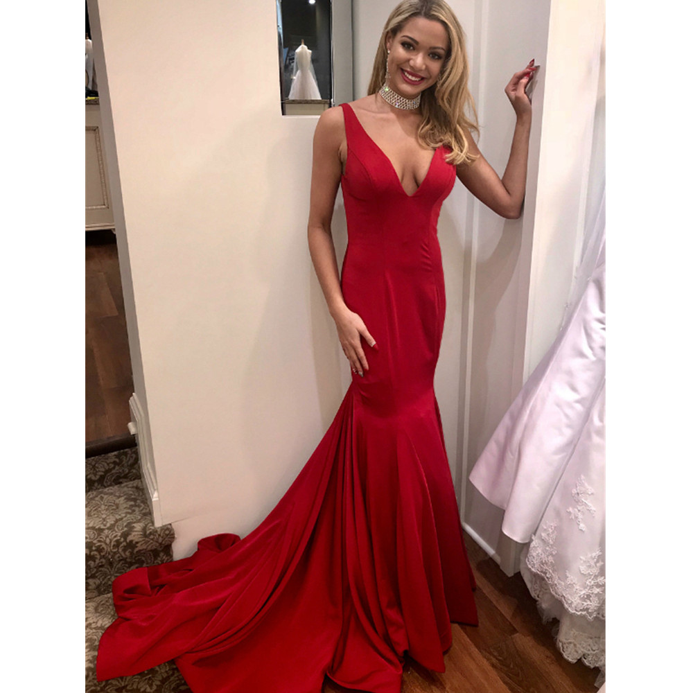 Simple Red Mermaid Evening Dress 2018 Backless V Neck High Quality ...