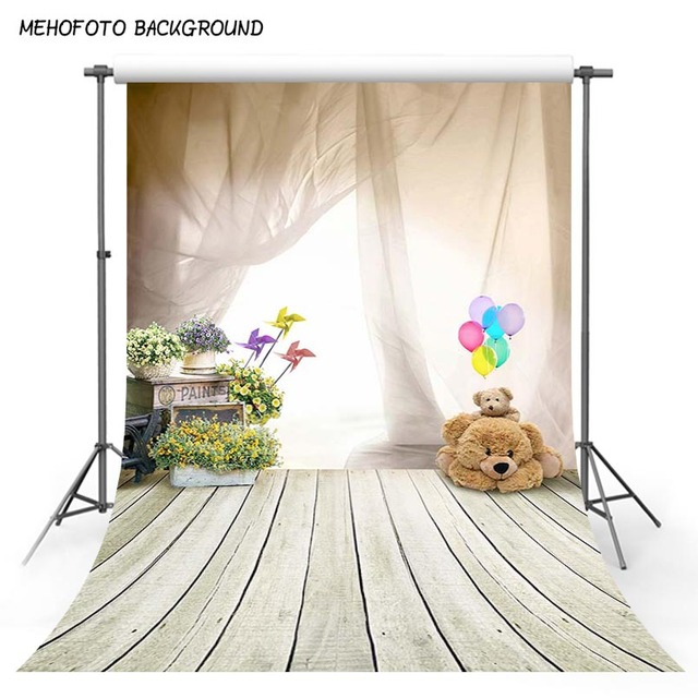 1m x 1.5m Lovely Bear Wood Floor Balloon Studio Backdrops Children baby shower Photography Backgrounds For Photo Studio props