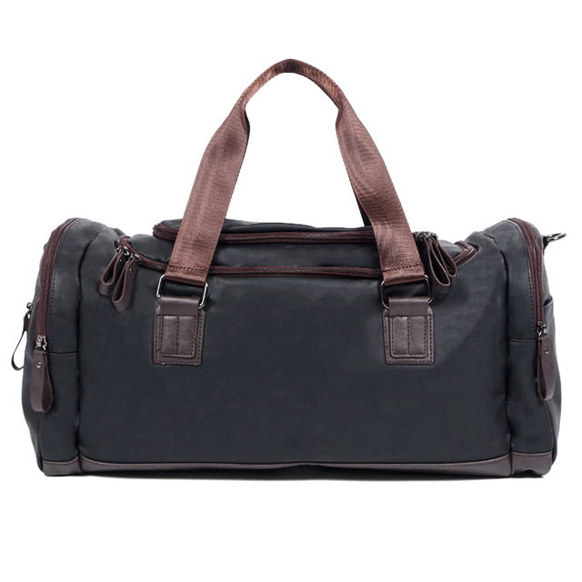 2016 Luxury Black Leather Travel Bag Men Duffle Luggage Travel Large Weekend Overnight  Packing Cubes Carry on Tote Keepall