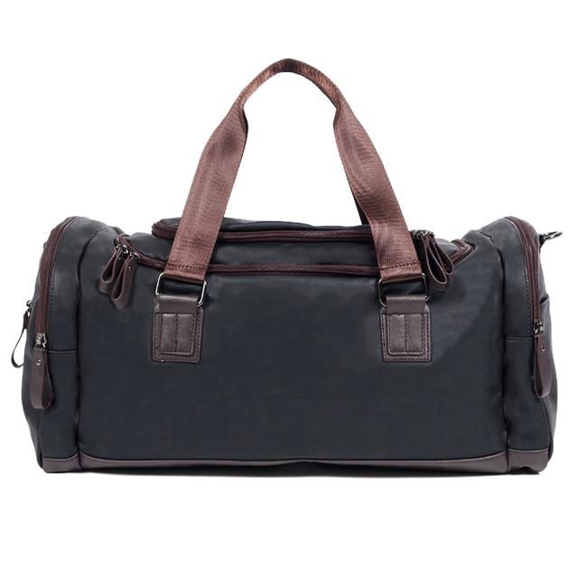 2016 de Lujo de Cuero Negro Hombres bolsa de Viaje Bolsa de Equipaje de la Lona de Viaje Keepall Grandes Cubos de Embalaje de fin de Semana Durante La Noche Seguir Adelante Tote
