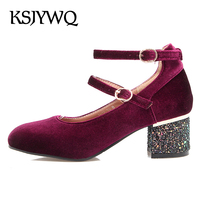 KSJYWQ Plus Size Green Pumps for Women PU Leather 5 CM Chunky Heels Summer Formal Shoes Cheap Buckle Pumps Box Packing 7602