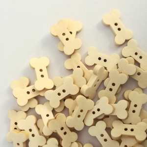 50PCs Wooden Sewing Buttons Scrapbooking Bone Natural Color Two Holes Cartoon Costura Botones Decorate 19 X 11mm