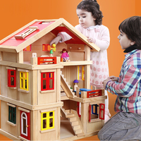 DIY Family Doll House Toy Dollhouse Accessories With Miniature Furniture Garage Toys For Girl Gifts 43.5*56*75cm Birthday Gift