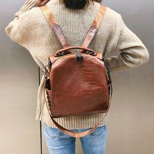 Image 2 - Fashion Women Leather Backpacks New Crocodile Pattern Travel BackPack Rivet Shoulder Bag Backpacks for Girls School Bag Backpack