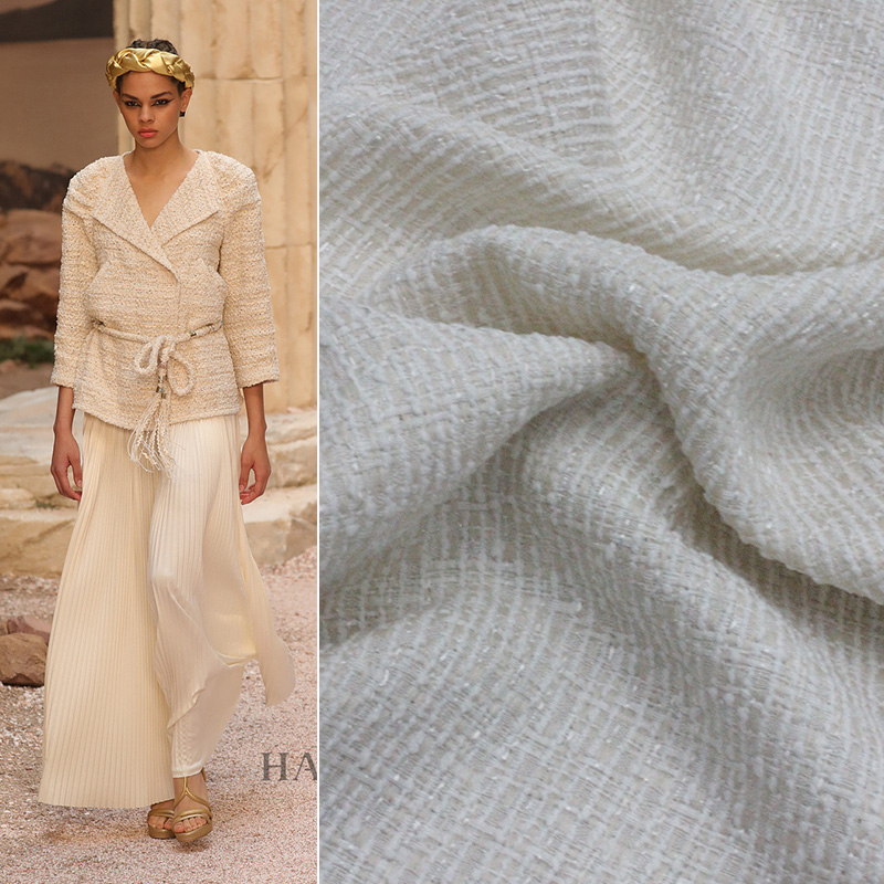 Classic small sweet wind braided bright white silk m thin suit fabric/cloth fashion fabrics