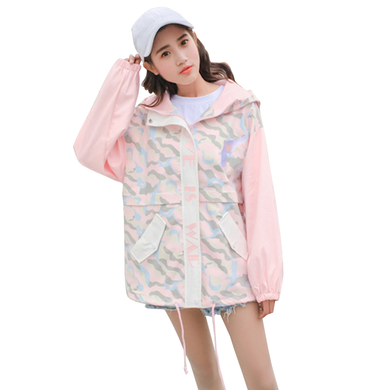 2019 New College Style Autumn Women's Windbreaker Fashion Camouflage Print Hooded   Jacket   Women Loose Casual   Basic     Jackets   Coat