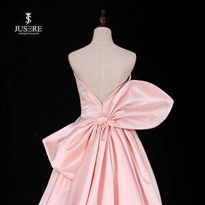 Image 5 - Chérie rose a ligne robe de soirée sans manches avec grand arc balayage Train Satin bretelles robe de bal robe de soirée 2019