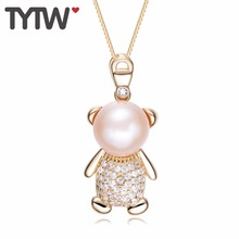 TYTW S925 стерлингового серебра пресноводный жемчуг женщин кулон ожерелье Круглый белый розовый фиолетовый оболочки жемчужина ювелирные изделия годовщины подарки