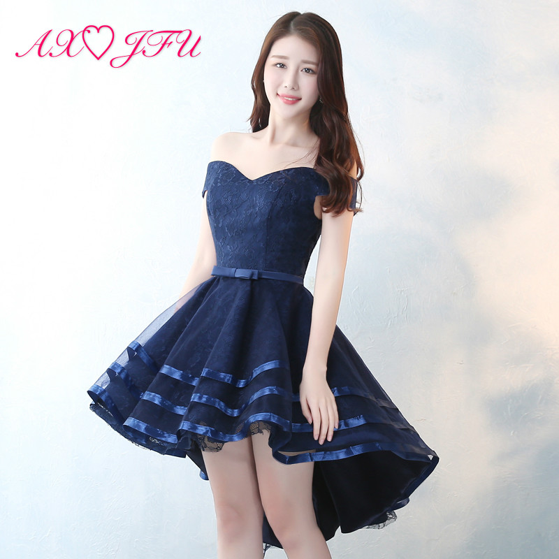 AXJFU princess navy blue lace evening dress vintage boat neck high/low navy bow flower lace evening dress navy blue size 16