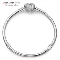 100 925 Sterling Silver Hand Chain Stamp 925 Original Logo Charms Heart Beads Fit DIY Bracelets