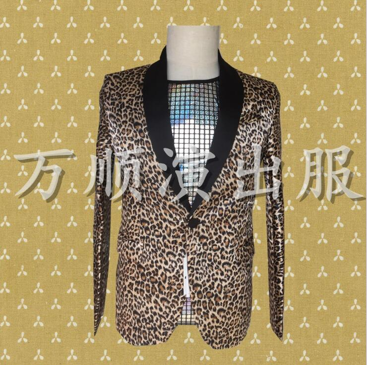 Leopard clothes men suits designs masculino homme terno stage costumes for singers jacket blazer dance star style dress