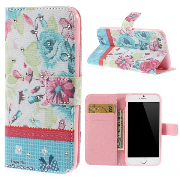separation shoes cedfd 691a9 US $5.99 |For iphone 6s case Floral Small Flowers Rhinestones Inlaid  Leather Wallet Case for iPhone 6 6s 4.7 inch With Stand on Aliexpress.com |  ...