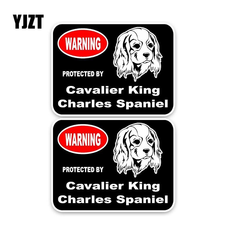 YJZT 15*11.4CM 2X Cavalier King Charles Spaniel Guard Dog Funny Car Sticker Car Window Decal C1-4333 the guard dog