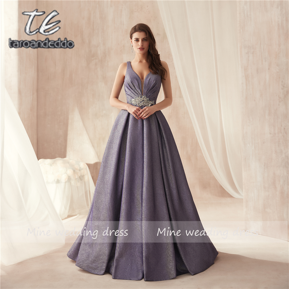 V-neck Cap Sleeves Glitter Material Shiny Bling Bling High Quality Purple   Prom     Dress   with Beading Belt Evening Gowns