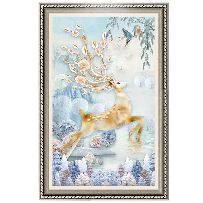 Youran diy Diamond Mosaic Embroidery European Design Animal Lucky Deer Pattern Living Room Bedroom Home Decoration Xmas Gift