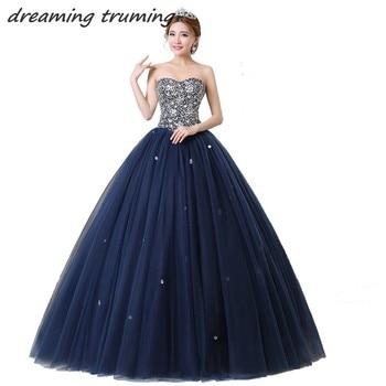 547cb7008 2019 brillo azul marino Vestidos De quinceañera con cuentas lentejuelas largo  Vestidos De 15 años dulce 16 Vestidos De 15 años