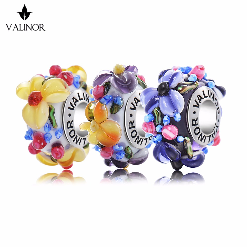 Purple Flowers Glass Beads Charms 925 Sterling Silver Fit Pandora Bracelets & Bangles for Women Jewelry Mum G GCLL039-2
