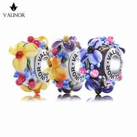 Blooming flowers Handmade Murano Glass Beads 925 Sterling Silver Charms Fit Bracelets & Bangles for Women Jewelry GCLL039