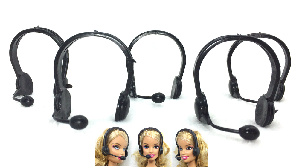 NK 5 Pcs/set Fashion Plastic  Headset Microphone Accessory For Barbie Doll Accessories Earphone Best Gift DZ