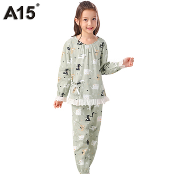 A15 Girls Pajamas Sleepwear Girls Pyjamas Long Sleeve Kids Nightwear Big Girl Clothes Set Fall Pyjamas Children Pink Pajamas Set pajamas