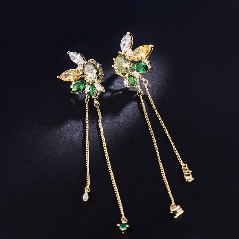 2018 New Fashion color zircon crystal temperament long flower tassel earrings for women ZK40