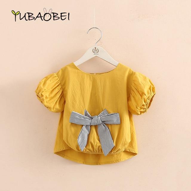 d6dc470c71e5 Baby Bubble Sleeve Baby Yellow Blouse Shirt 2018 Summer New Cute Little  Girl Children s Children s Round Neck Tee