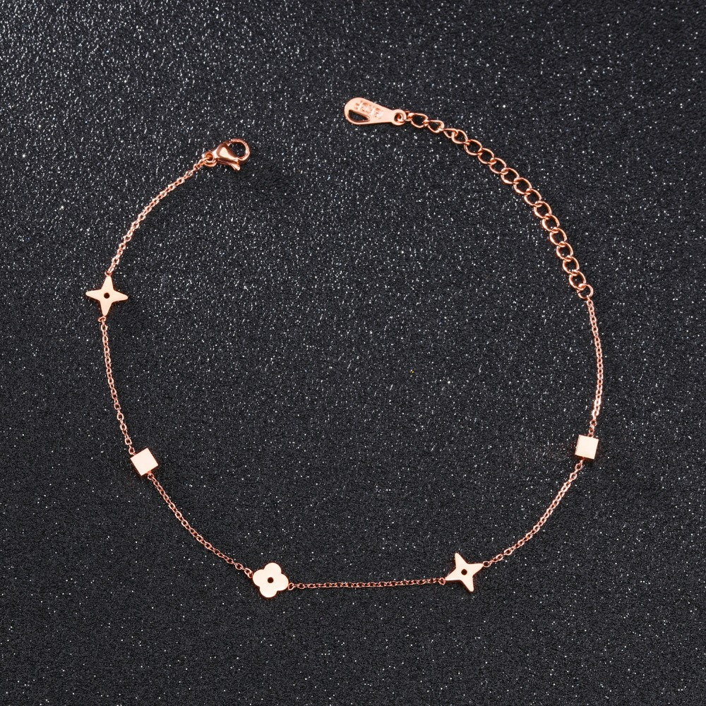 Fate Love Fashion Sweet Flower Anklet Women Rose Gold Color Stainless Steel Ladies Candy Color Jewelry Not Fade Drop Shipping