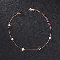 Fate amor moda doce flor tornozeleira mulher rosa cor de ouro aço inoxidável senhoras doces cor jóias não desaparecer transporte da gota