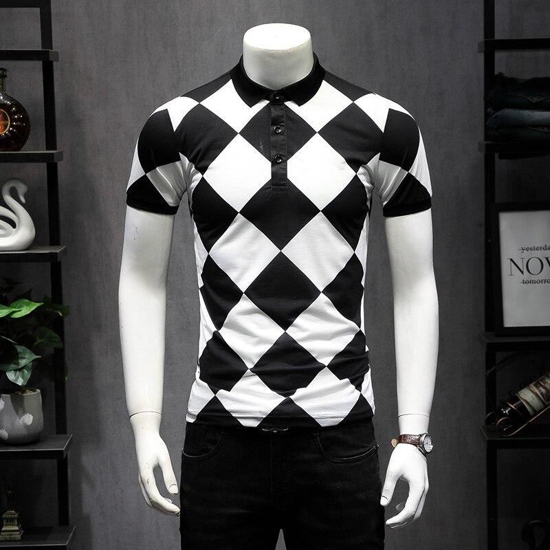 England Fashion Designer Khaki Men's   Polo   Shirts Summer Cotton Classic Argyle Design Short Sleeve   Polo   Shirt Men 4XL 5XL 9256