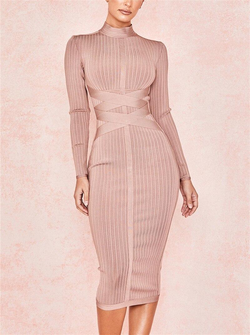Newlife kaki célébrité à manches longues sur le genou Sexy femmes robes de fête de nuit robes robe formelle