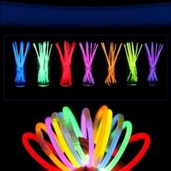 8 ''bâtons lumineux colorés néon fête fluorescente Bracelets lumineux collier lueur dans le néon foncé bâton fournitures de fête de noël