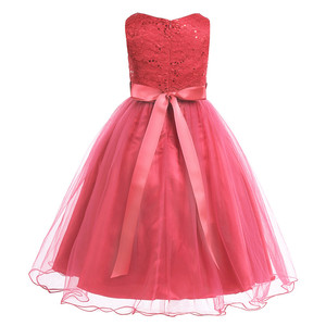 Image 3 - Tiaobug ילדים ילדה פרח שמלות ילדים תחרות ערב שמלות נצנצים תחרה רשת כדור שמלות חתונה ראשית הקודש שמלות