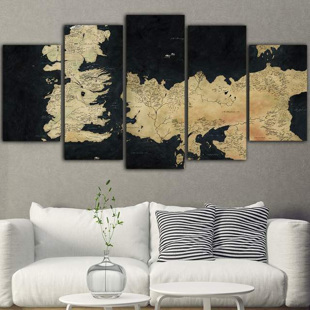 5 Pieces Canvas Wall Painting Game Of Thrones Quadri Su Tela Per Soggiorno  Posters And Prints Tableau Mural Obrazy Drop Shipping