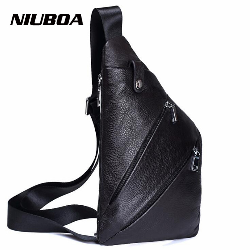 NIUBOA Genuine Leather Chest Bags New Euro Style Soft Leather Men Small Shoulder Bag Mob Pockets Casual Crossbody Messenger Pack цена и фото