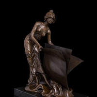 Classical Bronze Statue lady sculptures for home decorationThe beauty with book figurines lost wax casting Books girl figurine