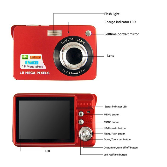 1280 * 720 HD Mini Digital Camera 18MP 2.7″ TFT 8x Zoom Smile Capture Anti-shake Video Camcorder