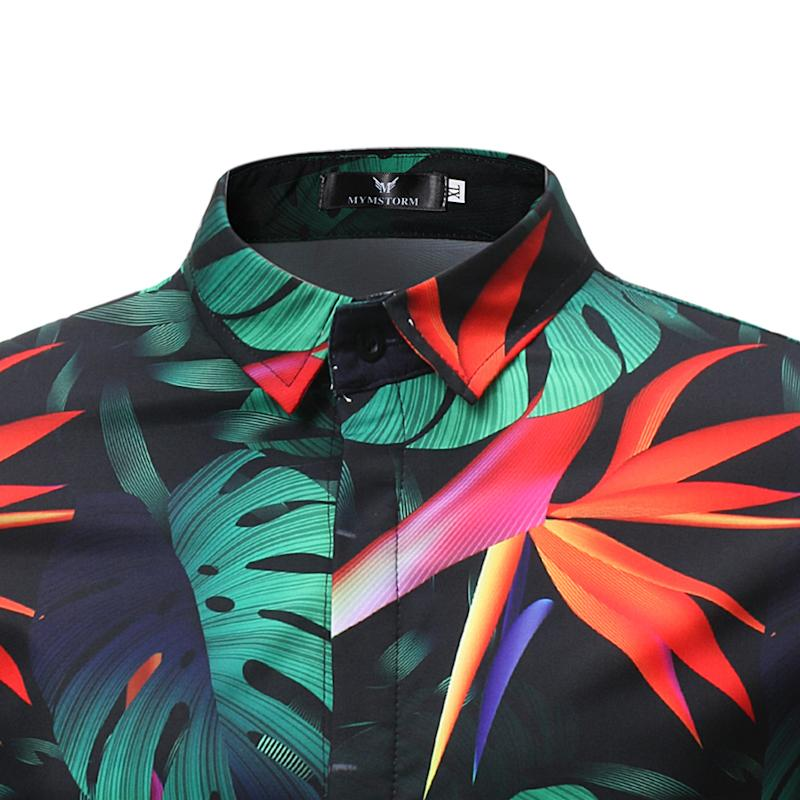 Fashion Floral Shirt Men Flower Printed Blouse Casual Short Sleeve Slim Shirts Man Tops New in Casual Shirts from Men 39 s Clothing