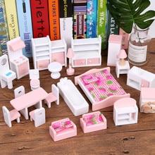أثاث مصغر للدمى منزل دمية خشبية مجموعات أثاث التظاهر التعليمية اللعب لعب الأطفال هدايا الاطفال الفتيات