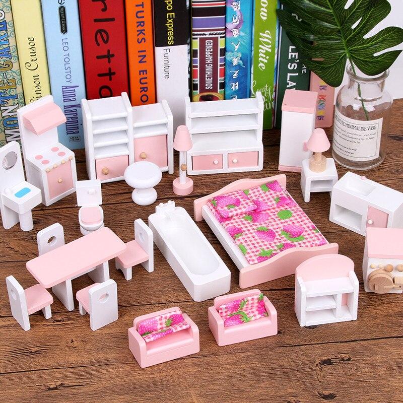 Conjuntos de Mobiliário de casa de bonecas Móveis em miniatura para casa de bonecas De Madeira Educacional Pretend Play brinquedos presentes Das Crianças Das crianças meninas