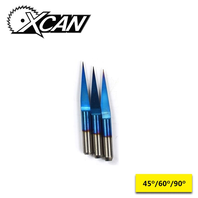 XCAN 10pcs Blue Coated V Shape Milling Cutter Flat Bottom Carbide PCB Engraving Bits CNC Router Cutter 45/60/90 DegreesXCAN 10pcs Blue Coated V Shape Milling Cutter Flat Bottom Carbide PCB Engraving Bits CNC Router Cutter 45/60/90 Degrees