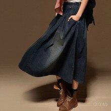 Women Maxi Skirt Pocket Women Casual Loose Skirt Long Denim Skirt Elastic Waist Fashion Vintage All