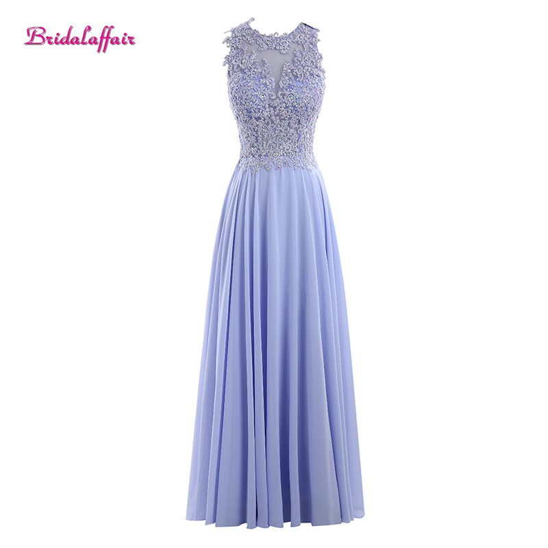 Bridalaffair Real Photo Light Purple Chiffon Scoop Neck Appliques Lace Long   Prom     Dresses   2018 Sleeveless A Line Evening Gowns