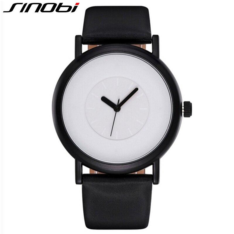 SINOBI Unique Men Watch 2017 Fashion Casual Slim Leather Band Wristwatch Simple Male Clock Analog Quartz Watches Relojes Hombre