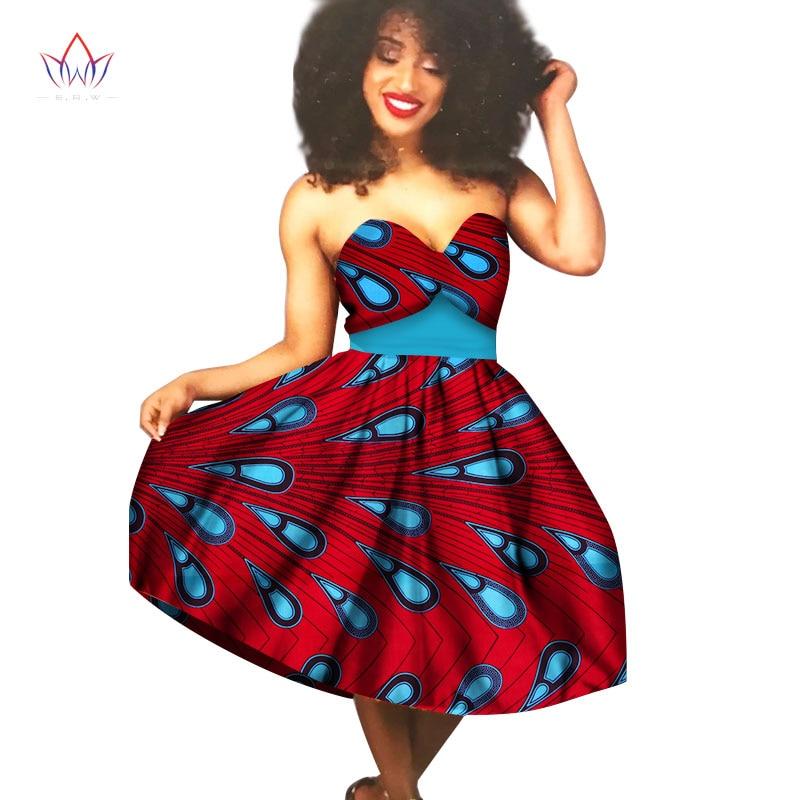Africké ženy šaty 2017 letní šaty Sexy šaty bez ramínek Dashiki africký tisk vosk z ramene Vintage šaty WY1578