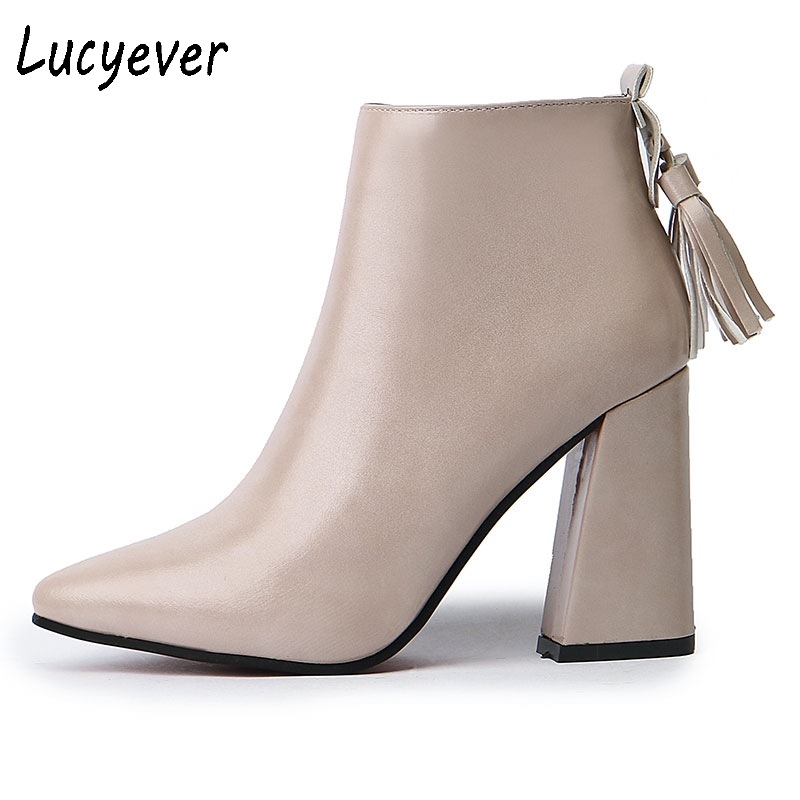 Lucyever Thick High Heels Ankle Boots for Women Autumn Winter Tassel Pointed Toe Party Booties Fashion Leather Shoes Woman fashion kardashian ankle elastic sock boots chunky high heels stretch women autumn sexy booties pointed toe women pumps botas