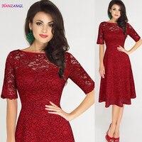HANZANGL Elegant Women S Lace Hollow Out Dresses Slash Neck Short Sleeve Casual Sexy Party Dress