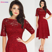 HANZANGL Elegant Women's Lace Hollow Out Dresses Slash Neck Short Sleeve Casual Sexy Party Dress Plus Size Woman Clothing