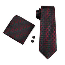 Men`s Classic Tie 100% Silk Novelty Geometric 30 Styles Tie & Hanky Cufflinks Sets